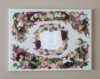 PRESSED Flower Keepsake on Canvas - made from your preserved Wedding or Memorial Petals  Custom Bridal or Funeral Wall Art - FORMAL DESIGN