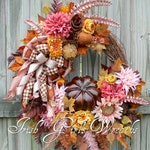 Rustic Glamour Deluxe Pink and Brown Fall Floral Wreath, XL Rose Gold Autumn Pumpkin Wreath, Chocolate Expresso Brown Thanksgiving Wreath