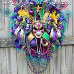 Deluxe XXLarge Mardi Gras Harlequin Jester Mask Wreath, HUGE, Venetian Jester Mask, feather, peacock, beads, boas, Carnival, New Orleans