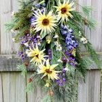 Pacific Northwest Coastal Wildflower Swag, Everyday Rustic Evergreen Floral, Lupine and Wild Sunflower Floral Swag Wreath, Woodland Wreath