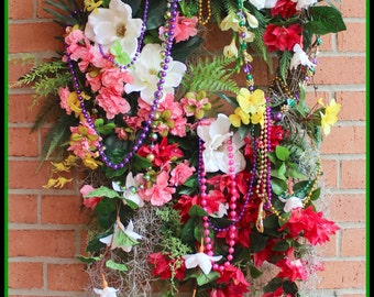 Spring Wreath, XL Mardi Gras Wreath, Spring in New Orleans Floral Wreath, French Quarter Decor, Louisiana decor, HUGE Wall hanging