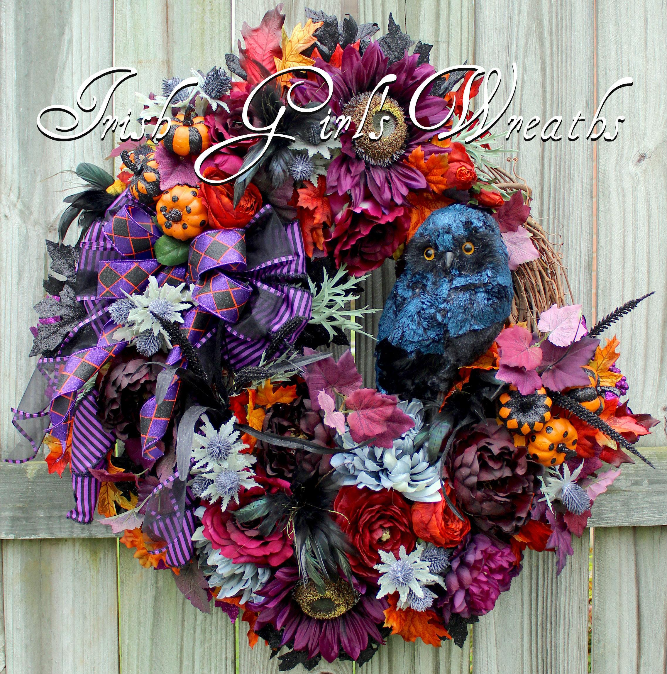 Black Flower And Crow Halloween Wreath: Gothic Halloween Floral Owl Wreath Black Owl Elegant