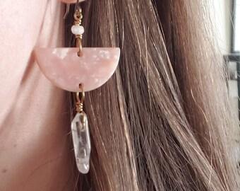 eloise // pink lucite half moon earrings