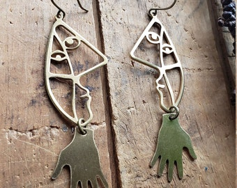 picasso // brass face earrings