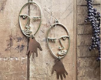 matisse // brass face earrings