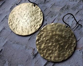full moon // brass disc earrings