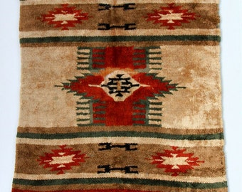 Antique Vintage Turkish Rug/Wall Hanging Hand Woven Boho Small Soft Material Designs Rust Red Green Natural Colors Fringe