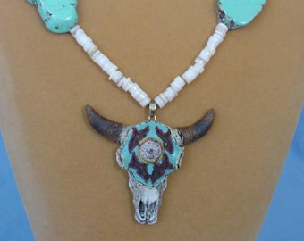 """Awesome 24"""" Southwestern Turquoise and Cow Skull Necklace - N590"""