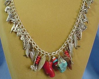 """WOW!  Awesome 24"""" Southwestern themed Charm Necklace - N482"""