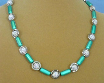 """19"""" Aqua, Silver and Sparkly Wite Necklace - N619"""