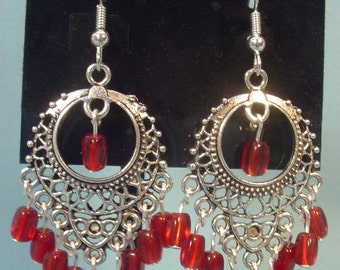 Beautiful, Bright Antique Silver Earrings with RED Glass fringe - E041