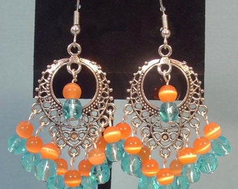 Pretty BRIGHT Aqua Blue and Orange Chandelier Earrings - E027