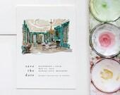 Custom Illustrated Save the Date, Custom illustrated Wedding invitation, Venue Save the Date, Venue Illustration
