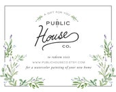 GIFT CARD House Watercolor, Wedding Gift, New Home Gift, First Home, Housewarming Gift, Home Watercolor, House Painting