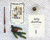 Custom Illustrated Holiday Card, Family Illustration, Hand painted Card, Printable Christmas Card, Christmas, Holiday