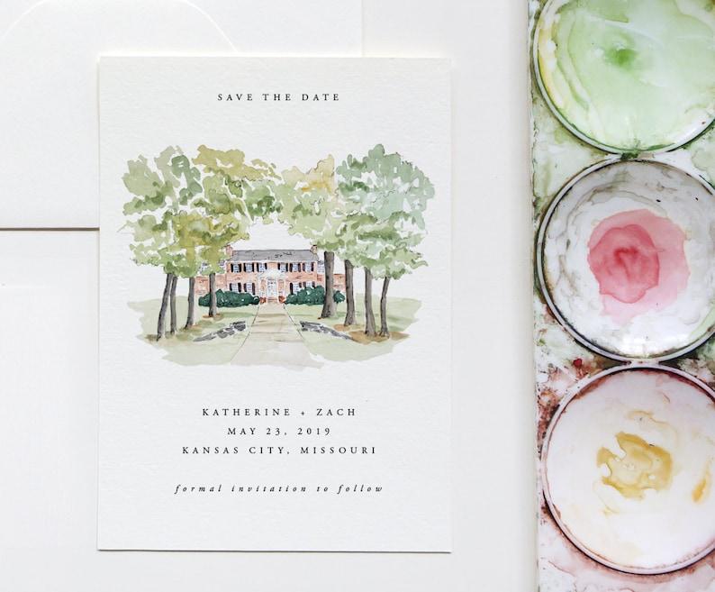 Custom illustrated Wedding invitation Custom Illustrated Save the Date Venue Save the Date Venue Illustration