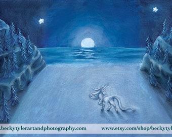 Unicorn and Moonlight Original Drawing