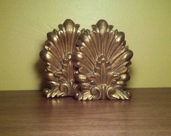 Vintage Florentine Wood Gold Gilt Bookends  - Made in Italy