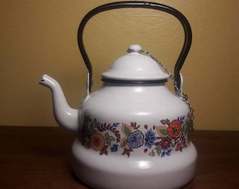 Mid Century Modern Enamelware Teapot - Swedish floral design - 1970's - Made by ERO of Romania