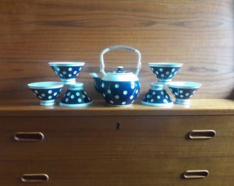 Cobalt Blue and White Polka Dot Porcelain Teapot & 6 Cups - Japan - Complete Set - Excellent Condition - 1970's - Deep Relief