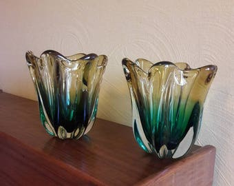Unique and Stunning Pair of Murano Seguso Handblown Sommerso Yellow and Green Venitian Glass Vases