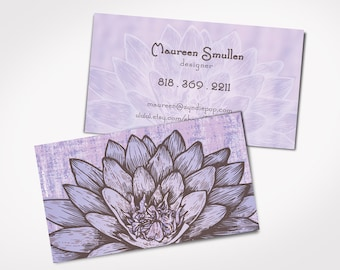 Lotus business card etsy 250 printed business cards lavendar lotus flower business cards yoga masseuse personal card bride mightylinksfo
