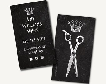 250 hair stylist business cards printed business cards chalkboard scissors crown queen king - Stylist Business Cards