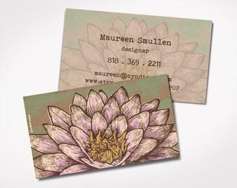 Lotus business card etsy special printed yoga business cards lotus flower kraft paper illustration yoga massage therapist card spiritual colourmoves