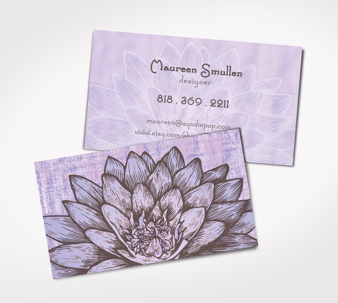 250 printed business cards lavendar lotus flower business etsy zoom colourmoves
