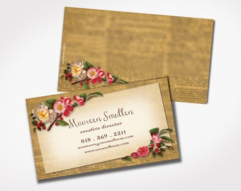 250 freelance creative business cards printed flower card 250 antique business cards creative business card design vintage flower retired etsy shop college student reheart Gallery