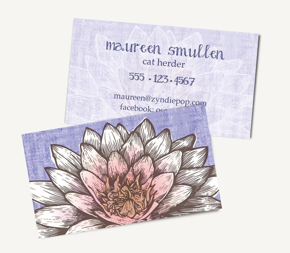 250 Lotus Zen Yoga Printed Business Cards White Lotus Etsy