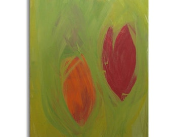 "Original Art, Acrylic Painting, Abstract Expressionism : ""SPRING TULIPS"" by Erica Vitalia"