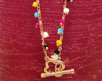 ANKLET: Simple But Elegant Gold Chain Anklet with Multicolored Matte Swarovski Crystals