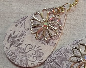 EARRINGS: Neutral Colored Paisley Pattern Teardrop Leather Earrings with a Gold Flower Crystal Charm