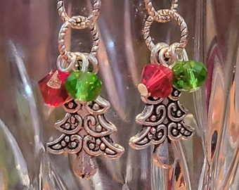 EARRINGS: Tibetan Silver Christmas Trees with Red & Green Swarovski Crystal Accents on Sterling Silver Earwires