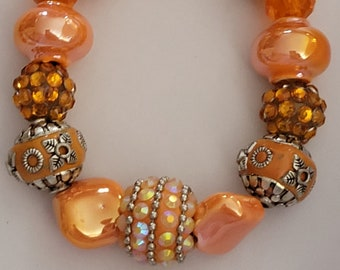 3 Piece Set: Beautiful Handmade Lampwork Beaded Necklace with Swarovski Crystals and Sterling Silver Ear Wires