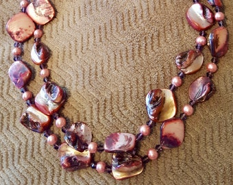 NECKLACE:  Double Strand Beautiful Shades of Pinks Beaded Shell Necklace with Swarovski Crystals, Pearl Beads & a Magnetic Closure