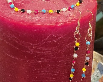Bracelet & Earring Set:  Multicolored Small Matte Swarovski Crystals on a Dainty Gold Chain