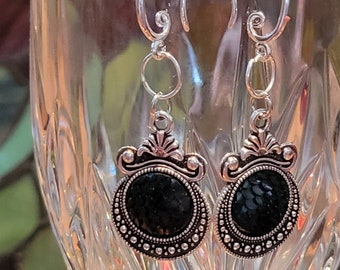 EARRINGS: Tibetan Silver Filigree Pendant Style Earrings with a Black Layered Sequined Center