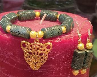 Earrings and Bracelet Set:  Egyptian Inspired Beaded Stretch Bracelet and Earring Set