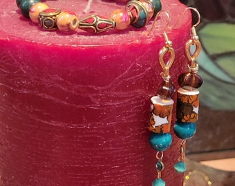 EARRING BRACELET SET:  Beautiful Beaded Earring and Bracelet Set