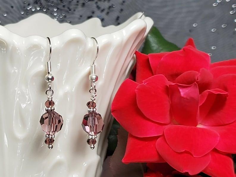 Stylsh Violet Purple Swarovski Crystal Pierced Earrings with image 0