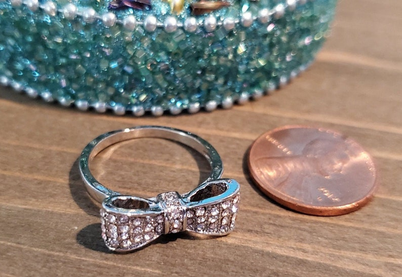 RING: Adorable Sterling Silver Rhinestoned Bow Ring image 0