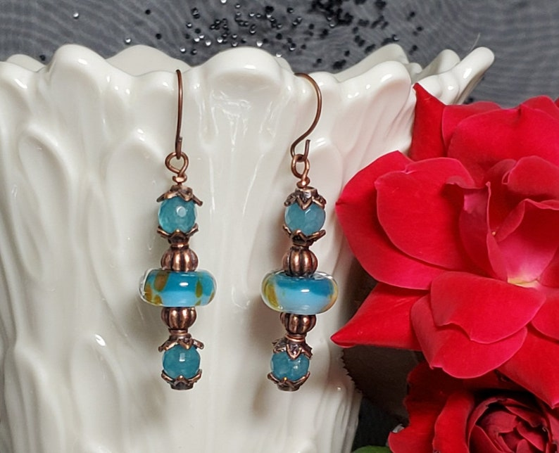 Beautiful Handmade Lampworks Beaded Earrings with Faceted Teal image 0