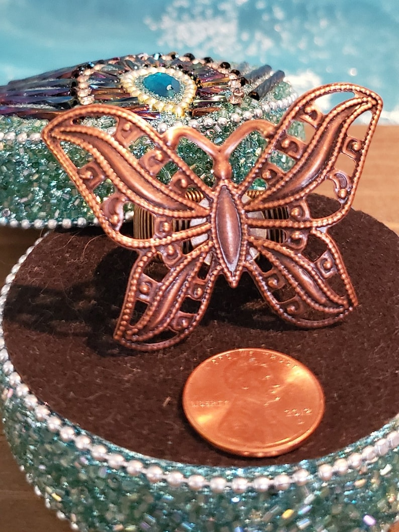 RING: Bronze Butterfly Statement Adjustable Ring image 0