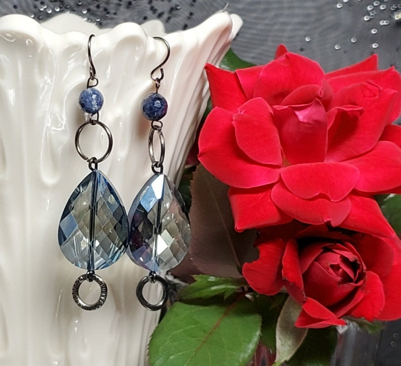 Stunning Extra Long Blue Teardrop Large Crystal and Gunmetal image 0