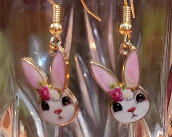 EARRINGS: Perfect for Easter are These Simple Bunny Face Charm Earrings