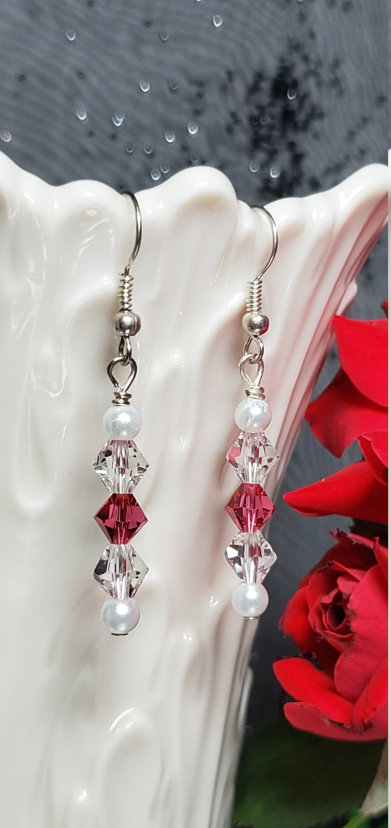 Pink and Clear Swarovski Crystal Dangle Earrings with White image 0