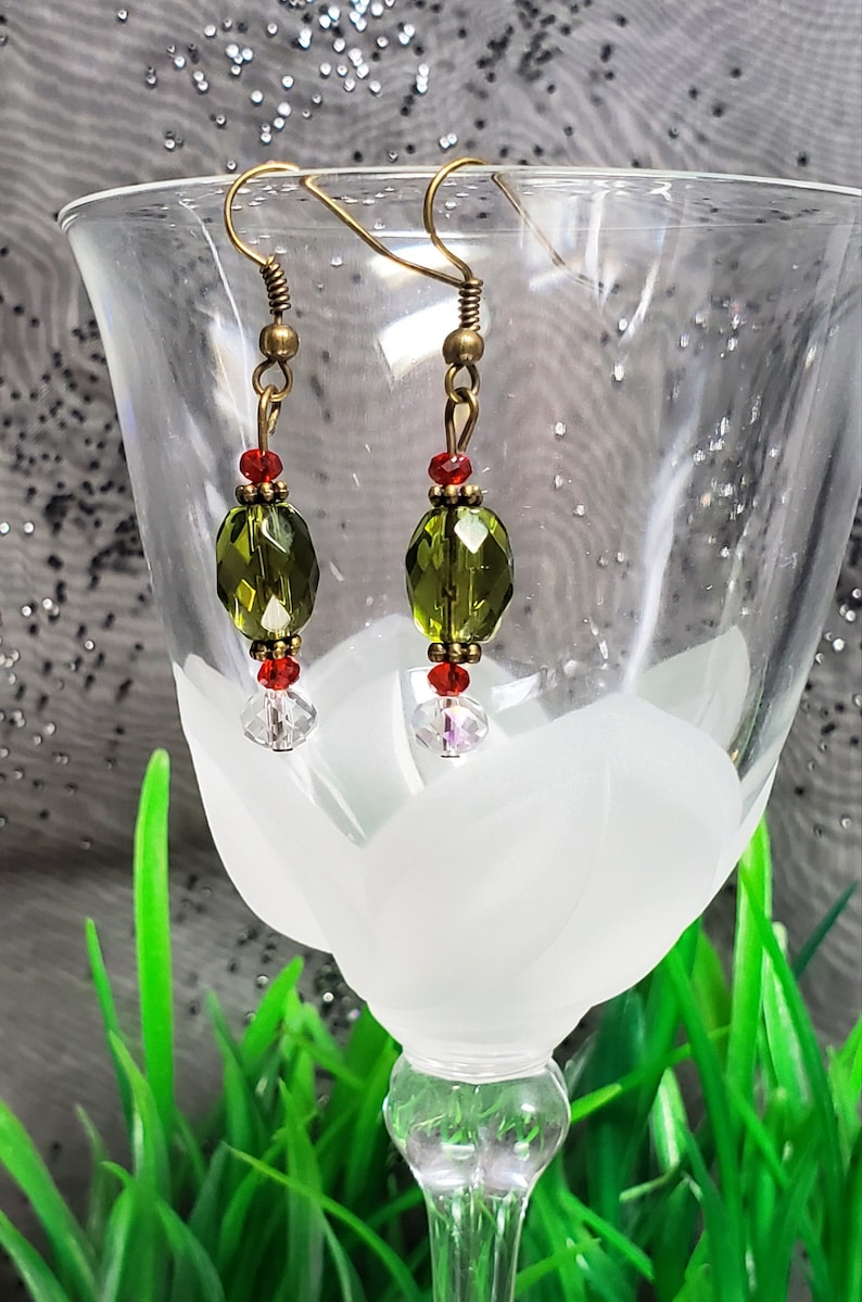 Beautiful Pierced Earrings of Bronze Findings Faceted Red image 0