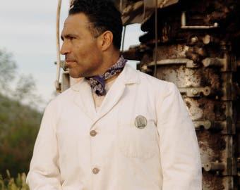 1930s GWG white duck denim true workwear jacket, belted back. Shrunk (pre-sanfordized) SZ MED